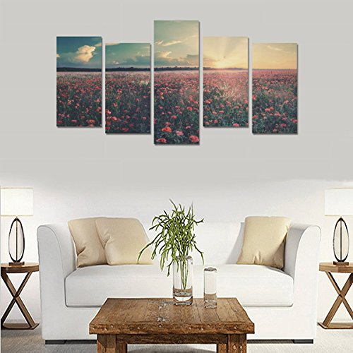 Hotel wall decoration flowers field landscape nature sunrise sunset personalized canvas print home bedroom decoration canvas oil painting mural design 5 Piece Canvas painting (No Frame) by sentufuzhuang Canvas Printing