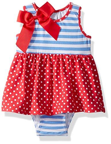 Flap Happy Baby Girls Jaya Skirted Romper, red dots 3m