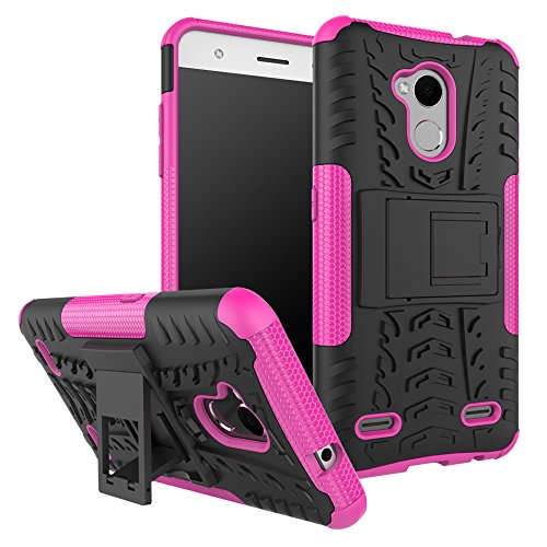 zl one Carcasa para ZTE Blade V6 Plus/V7 Lite Funda Hybrid Dual Layer Heavy Duty Shockproof PC+ Silicone Cover -Pink