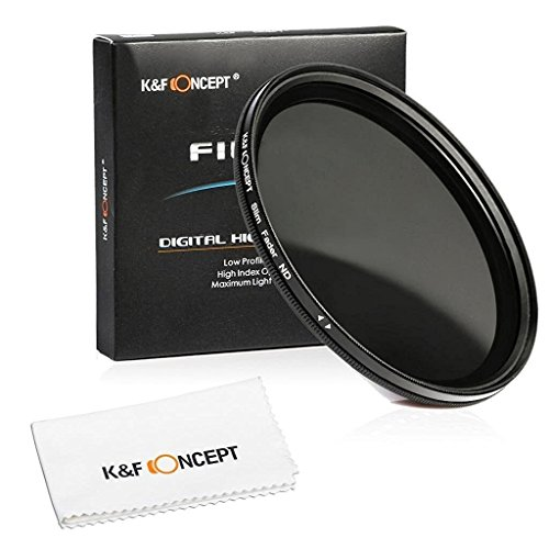 K&F Concept 72mm ND Fader Variable Neutral Density Adjustable ND Filter ND2 to ND400 for Canon 7D 60D 70D 500D for Nikon D7000 D600 D300 D800 D7100 for Sony A77 NEX 5 DSLR Cameras + Lens Cleaning Cloth