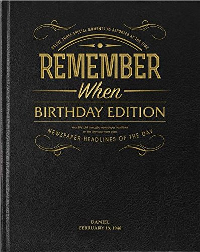 personalised mirror birthday edition newspaper book black leather