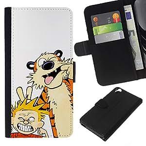 YiPhone /// Tirón de la caja Cartera de cuero con ranuras para tarjetas - Tiger Y Muchacho - HTC Desire 820