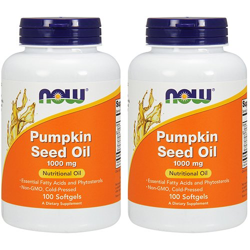 Now Foods Pumpkin Seed Oil 1000mg Soft-gels, 200-Count (100X2)]()