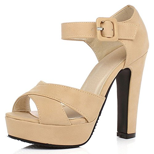 LongFengMa Women's Fashion Platform High Heeled Sandals Block Heels apricot