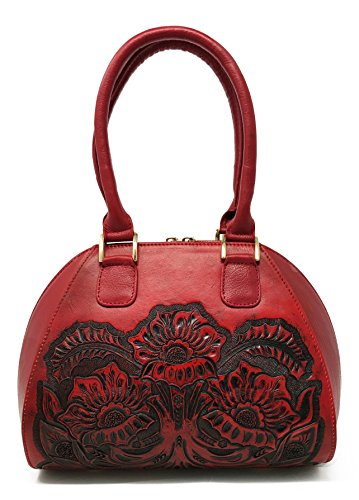 Alexandria Vintage Floral Artisan Leather Handmade Top Handle CrossBody Handbag Designer Gift for Women (Cherry) (Shops Alexandria La Flower)