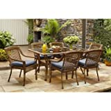 Spring Haven Brown Outdoor All Weather Wicker 7 Piece Patio Dining Furniture  Set With Sky Cushions, Seats 6. By Hampton Bay