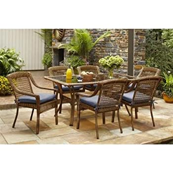 This Item Spring Haven Brown Outdoor All Weather Wicker 7 Piece Patio  Dining Furniture Set With Sky Cushions, Seats 6