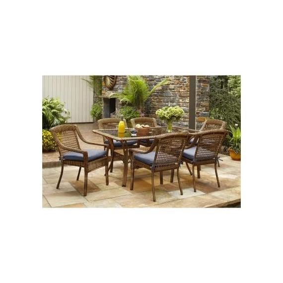 Spring Haven Brown Outdoor All-Weather Wicker 7-Piece Patio Dining Furniture Set with Sky Cushions, Seats 6 -  - patio-furniture, dining-sets-patio-funiture, patio - 51FzlCEg4gL. SS570  -