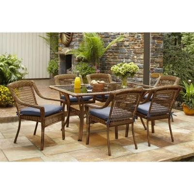 Spring Haven Brown Outdoor All-Weather Wicker 7-Piece Patio Dining Furniture Set with Sky Cushions, Seats 6