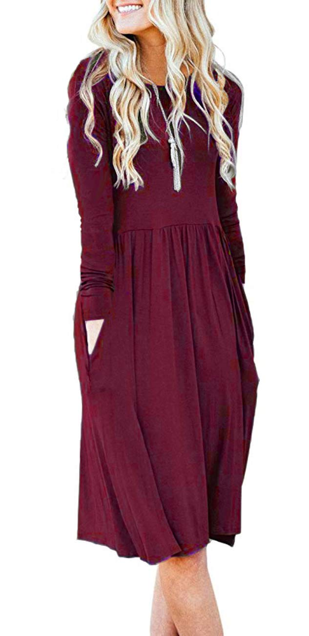 AUSELILY Womens Long Sleeve Pleated Loose Swing Casual Dress with Pockets Knee Length (S,Wine Red)