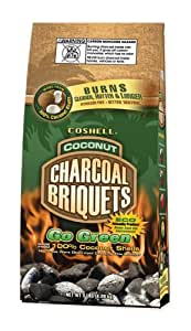 Coshell COSAZ9 9-Pound Bag Coconut Shell Charcoal Briquettes