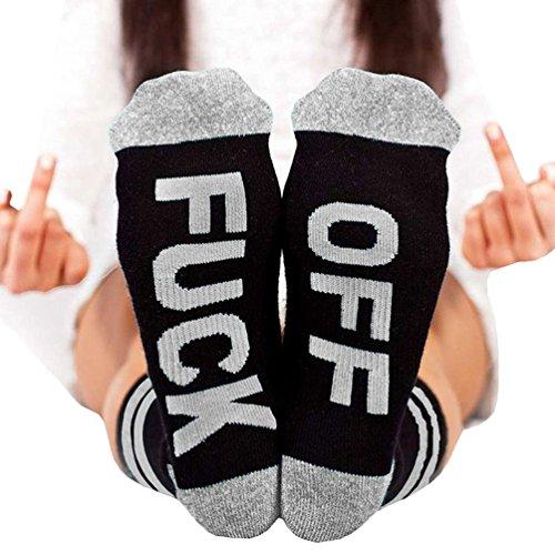 Unisex Cotton Socks FUCK OFF Novelty Letters Funny Socks Crew Socks - Mens Novelty