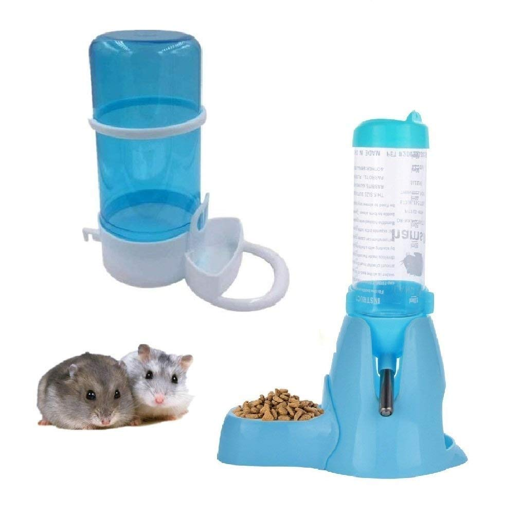 Automatic Pet Feeder,Water Drinking Bottle with Food Container Base Hut for Hamster,Hanging Water Feeding Bottles Auto Dispenser for Small Animals(Pack of 2) (125ML, Blue)