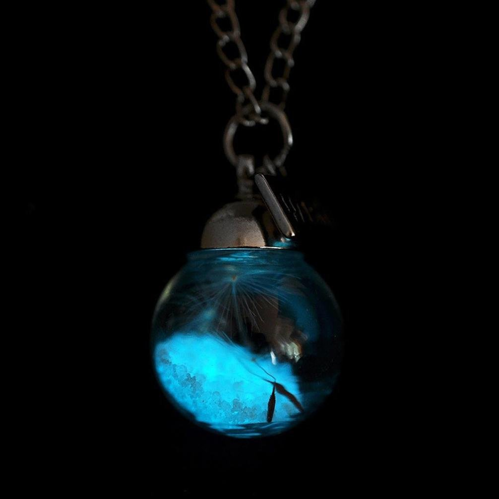 Jarsh Glow In The Dark Dandelion Lucky Glass Wishing Bottle Pendant Luminous Necklace Clavicle Chain