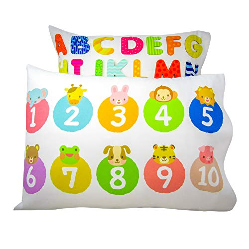 Life's Simple Answers Kids Toddler Pillowcase 2 Pack-Fits 13×18 Pillows for Boys or Girls, Numbers and Letters Design