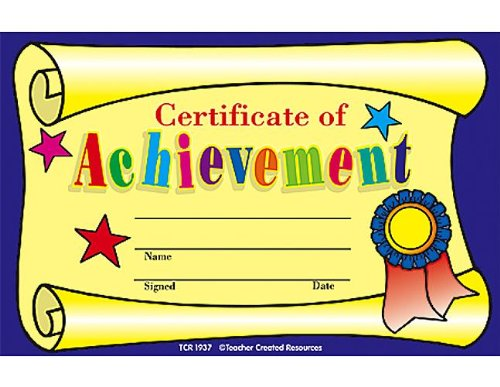 Teacher Created Resources Certificate of Achievement Awards -