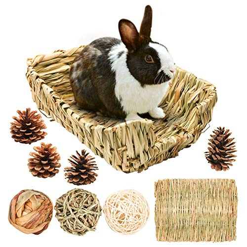 WRITE YOUR REVIEW Portable Grass Bed with Grass Balls, Natural Straw Woven Grass Bed Sleeping Pad Bunny Chew Toys Hay Mat for Rabbit Hamster Gerbil Chinchilla Guinea Pig Mice Other Small Animals (Set 1.