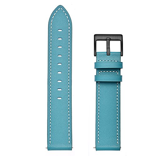 Aottom Compatible for Samsung Galaxy Watch 42mm Band Leather 20MM Smart Watch Replacement Band Metal Bracelet Wristband for Samsung Galaxy Watch Active 40mm / Galaxy Watch 42mm / Gear Sport, Blue