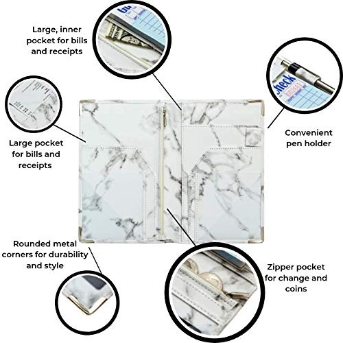 Server Plus Server Books for Waitress with Zipper Pocket, Pen Holder, Marble Leather, Metal Corners, 9 Pockets | Marble Server Book with Zipper Pocket Fits Restaurant Guest Check Order Pad and Apron by Server Plus (Image #7)
