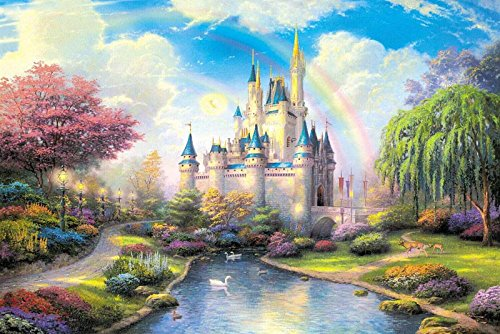 Sim,Handmade Premium Basswood Jigsaw Puzzle 1000 Piece Bright Color Famouse Painting 29.5*19.6 inch Nobleness Gift in Box Gift-Wrap Beautiful Castle