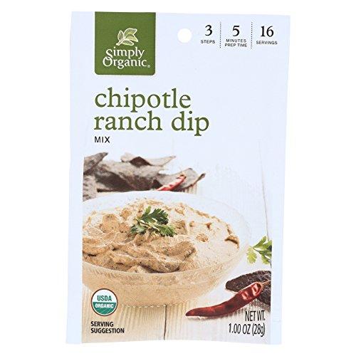 Simply Organic Chipotle Ranch Dip - Case of 12 - 1 oz.