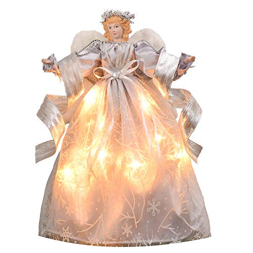 ch 10-Light Frozen Winter Silver White Ivory Christmas Tree Topper Angel Treetop Decorations, Battery Operated (Not Included) ()