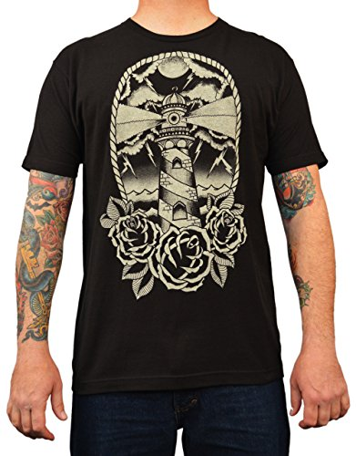 Men#039s Lighthouse by Adi Black Old School Tattoo Stormy Nautical Nights TShirt