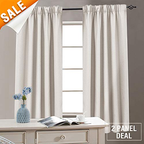 Waffle Weave Window Bathroom Curtains Kitchen Curtains Water-Proof Eyelet Window Curtain Set for Living Room 54 Inches Length, Oyster, 2 Panels