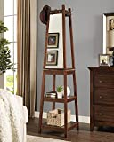 Roundhill Furniture Vassen Walnut Swivel Coat Rack with 3-Tier Storage and Mirror Shelves
