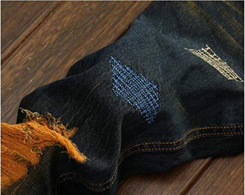 Los De Algodón Clásica Stovepipe Color Slim Agujero Jogging Casuales Bordada Plisada De Lavado Tendencia Pantalones Fit Blau De Rectos Hombres Jeans Retro Piedra Orxr5wY