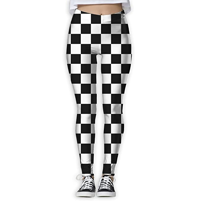 780386f8f864e CAWHJDW White Black Checkered Womens High Waist Yoga Pants Yoga Capris Pants  Quick Dry Workout Leggings Capris at Amazon Women's Clothing store: