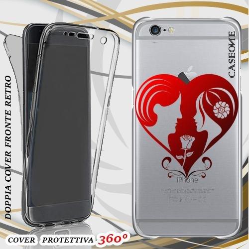 CUSTODIA COVER CASE HEART ROMANCE PER IPHONE 6 PLUS FRONT BACK TRASPARENTE