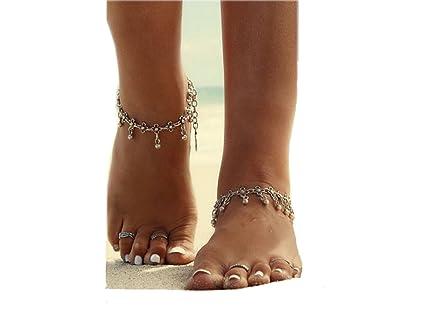 ILOVEDIY Anklet Bracelet de Cheville Argent Indien Perle Infini Femme Plage  Perle