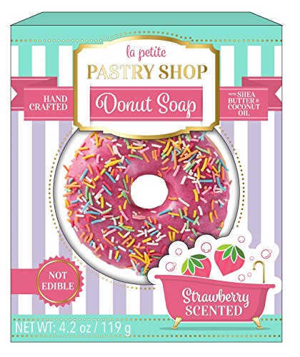 - La Petite Pastry Shop Sprinkles Handmade Donut Soap with Shea Butter and Coconut Oil. 119 Grams (1 Pack, Strawberry)
