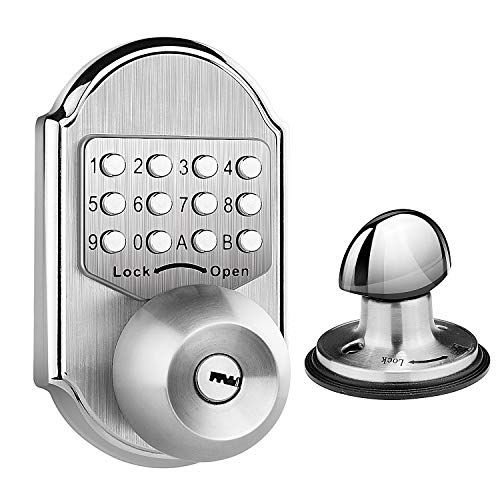 Elemake Keyless Deadbolt Mechanical Keyless Entry Door Lock Deadbolt Keypad Stainless Steel Pass Code, Key and Higher Security