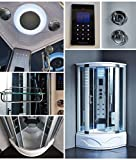 Steam Spa Sauna Shower Enclosure Hydro Massage Jets 1 Year Warranty 8002-A, Computer control panel touching technology, Modern Bathroom, Overhead rainfall