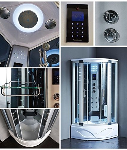Steam Spa Sauna Shower Enclosure Hydro Massage Jets 1 Year Warranty 8002-A, Computer control panel touching technology, Modern Bathroom, Overhead rainfall Hydro Massage Finish