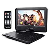 【Upgraded】 DBPOWER Portable DVD Player with 9.5'' Swivel Screen, Supports SD Card/USB/CD/DVD with AV in/Out and Earphone Port, 5-Hour Built-in Rechargeable Battery, Suitable for Car Headrest Mount