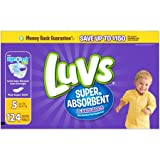 Health & Personal Care : Luvs Size 5 Super Absorbent Leakguards Diapers, 124 Diapers