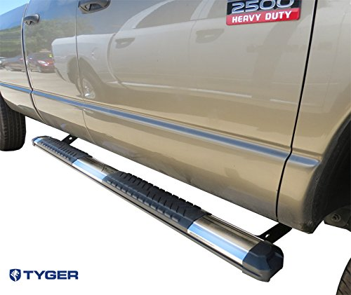 Rampage Nerf Bar Mounting (TYGER Custom Fit 02-08 Dodge Ram 1500 Quad Cab/03-09 Dodge Ram 2500/3500 Quad Cab 5inch Wide 79inch Long Stainless & Alloy Running Boards Side Step Rails Nerf Bars (2pcs with Mounting Bracket Kit))