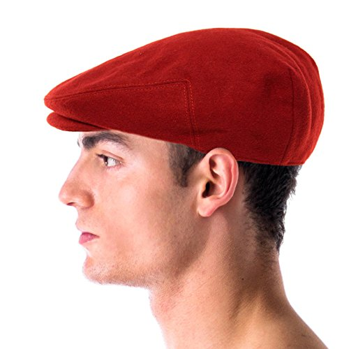 Men's Winter 100% Soft Wool Solid Flat Ivy Driver Golf Cabby Cap Hat X-Large Red