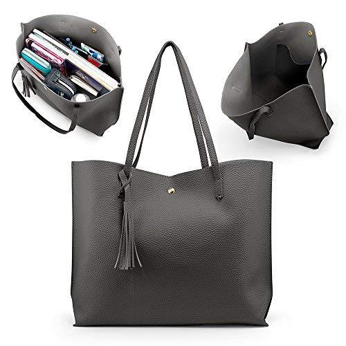 OCT17 Women Tote Bag - Tassels Faux Leather Shoulder Handbags, Fashion Ladies Purses Satchel Messenger Bags (Dark Gray) by OCT17 (Image #3)