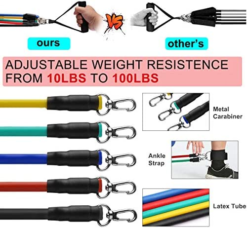 Grentay 11 Pack Resistance Bands Set, Exercise Resistance Bands for Men and Women with Handles Door Anchor Ankle Straps,Resistance Loop Band and Workout Guide for Home Workouts, Including 5 Stackable 3