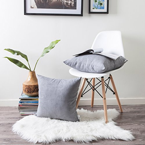 (Kevin Textile Solid Color Faux Suede Decorative Cushion Cover for Couch Throw Pillow Case 3 Sizes, 18 x 18 Inch (45x45cm),2 Pcs, Neutral Grey )