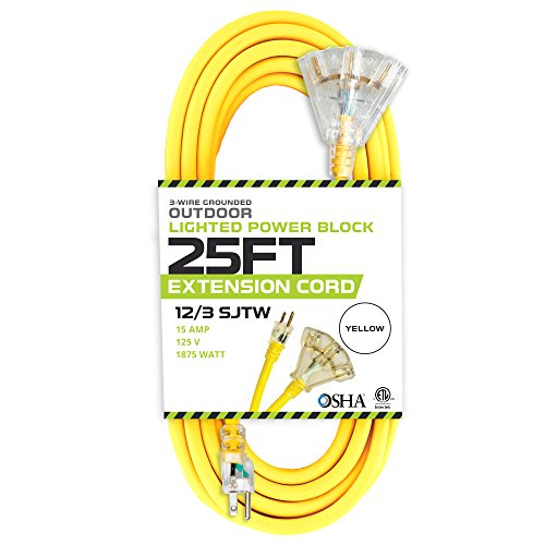 25 Foot Lighted Outdoor Extension Cord with 3 Electrical Power Outlets - 12/3 SJTW Heavy Duty Yellow Extension Cable with 3 Prong Grounded Plug for Safety