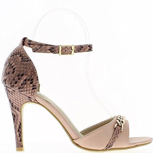 sandalias de tacón Rosa 9,5 cm