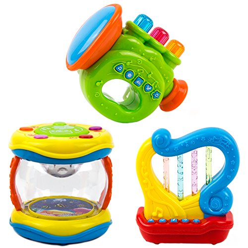 Toysery Portable Musical Toy Instruments for Toddlers, Kids - Educational Music Toy for Children - Interactive Toy Set of 3 Drum, Trumpet, Harp Baby Musical Toys