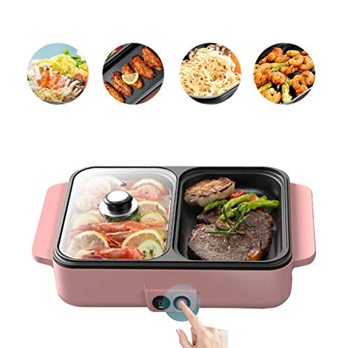 Electric Grill, Electric Barbecue Grill 2 in 1 Hot Pot Chafing Dish Non-Stick Smokeless Pan Electric Cooker Home Mini Barbecue Machine