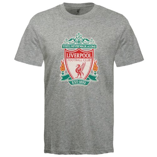 Liverpool Soccer T-shirts - Liverpool Football Club Official Soccer Gift Kids Crest T-Shirt Grey 8-9 Years