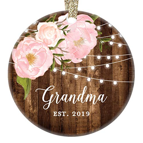 Grandma Est. 2019 First 1st Christmas as Grandmother Ornament Grandmom Mother's Day Present New Baby Keepsake Pretty Rustic Farmhouse Collectible 3